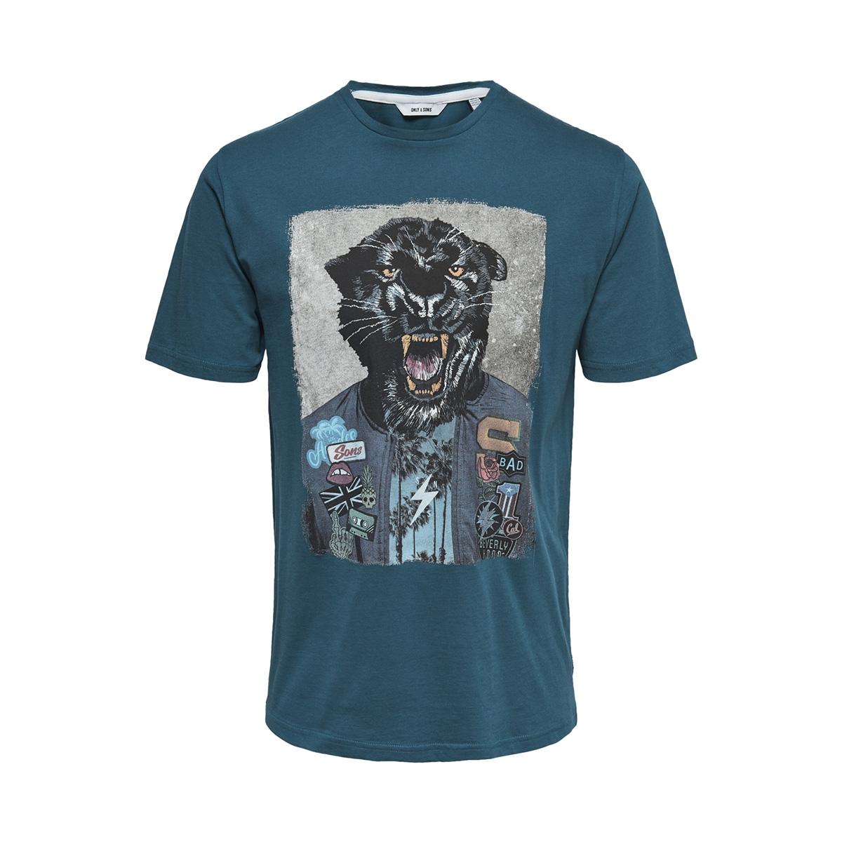 onsloris ss funny tee 22012566 only & sons t-shirt majolica blue