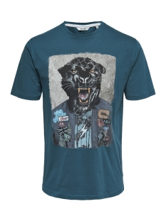 Only & Sons T-shirt onsLORIS SS FUNNY TEE 22012566 Majolica Blue