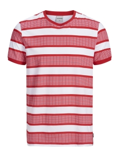 jcoraf tee ss crew neck 12152168 jack & jones t-shirt chinese red/slim