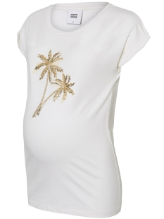 Mama-Licious Positie shirt MLPALM CAP JERSEY TOP A. 20009871 Snow White Detail/GOLD APPLI