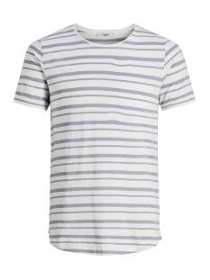 jprderek stripe bla  tee ss crew ne 12152837 jack & jones t-shirt blanc de blanc/slim fit