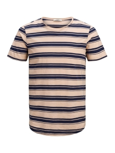 jprderek stripe bla tee ss crew ne 12152837 jack & jones t-shirt evening sand/slim fit