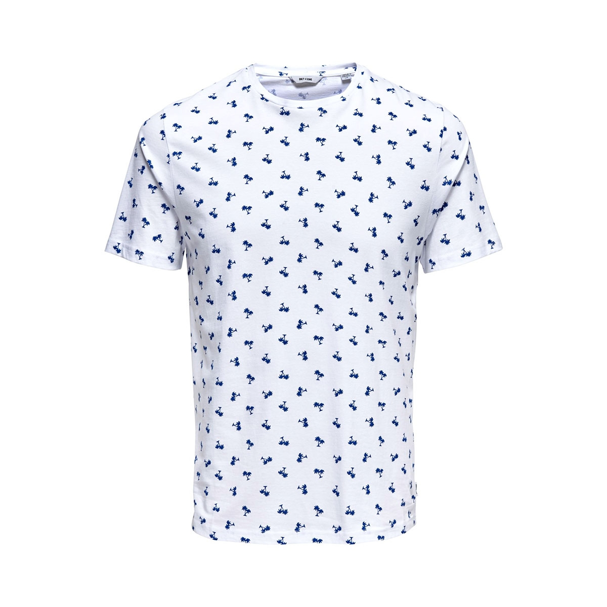 onspineapple ss ditsy fitted tee 22013251 only & sons t-shirt white