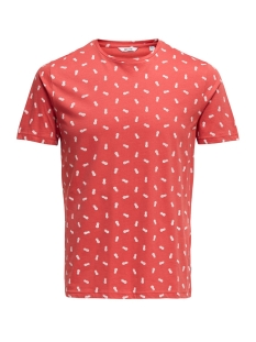 onspineapple ss ditsy fitted tee 22013251 only & sons t-shirt cranberry