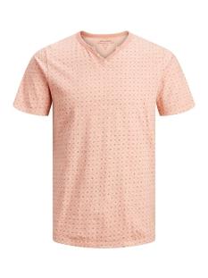 Jack & Jones T-shirt JPRTREYDEN AOP BLU. TEE SS SPLIT NE 12154611 Café Crème/SLIM FIT