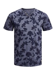 Jack & Jones T-shirt JPRTREYDEN AOP BLU. TEE SS SPLIT NE 12154611 Navy Blazer/SLIM FIT