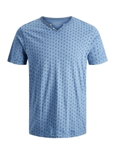 Jack & Jones T-shirt JPRTREYDEN AOP BLU. TEE SS SPLIT NE 12154611 Faded Denim/SLIM FIT