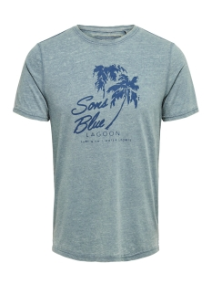Only & Sons T-shirt onsNEXT BURNOUT PRINT SLIM TEE NF 3 22013160 Smoke Blue