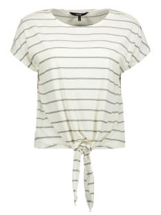 Vero Moda T-shirt VMSHANNON SS WIDE KNOT TOP JRS 10215979 Snow White/LAUREL WREATH