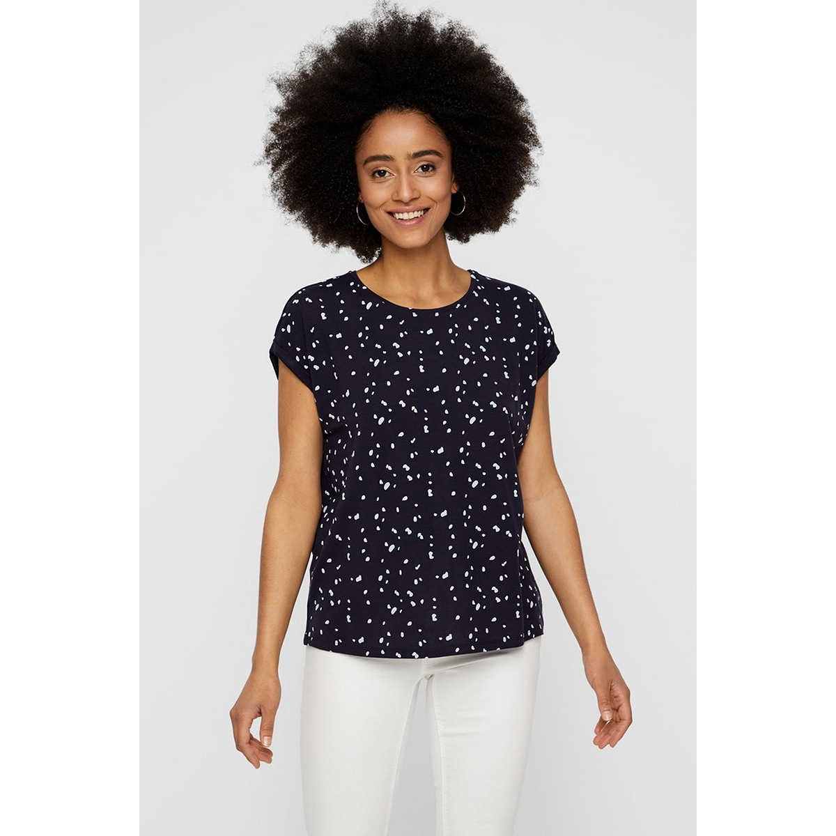 vmava plain ss top aop ga color 10211314 vero moda t-shirt night sky/coll 4 dot