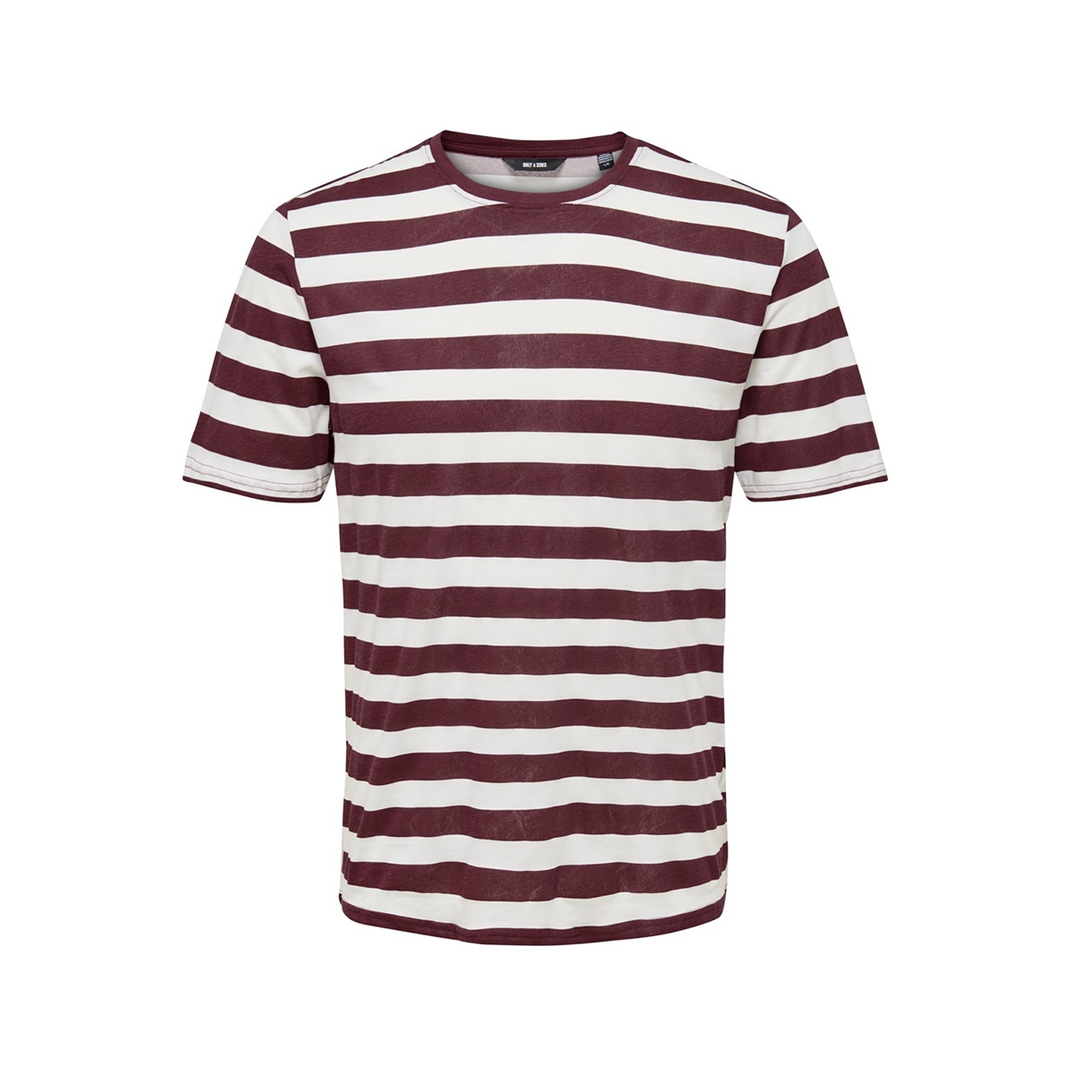 onscole striped ss tee vd 22013579 only & sons t-shirt zinfandel/white
