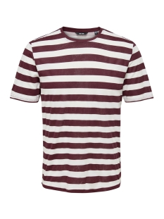 Only & Sons T-shirt onsCOLE STRIPED SS TEE VD 22013579 Zinfandel/WHITE