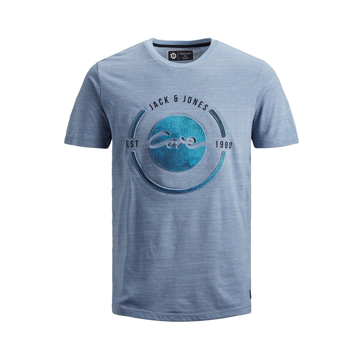 jcobay tee ss crew neck 12155198 jack & jones t-shirt victoria blue/slim