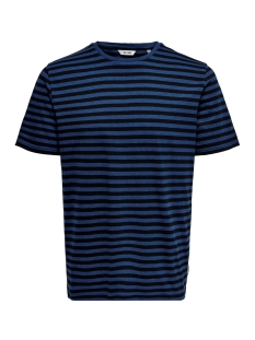 Only & Sons T-shirt onsJAMIE SS STRIPE REG TEE NOOS 22013203 Estate Blue/BLACK