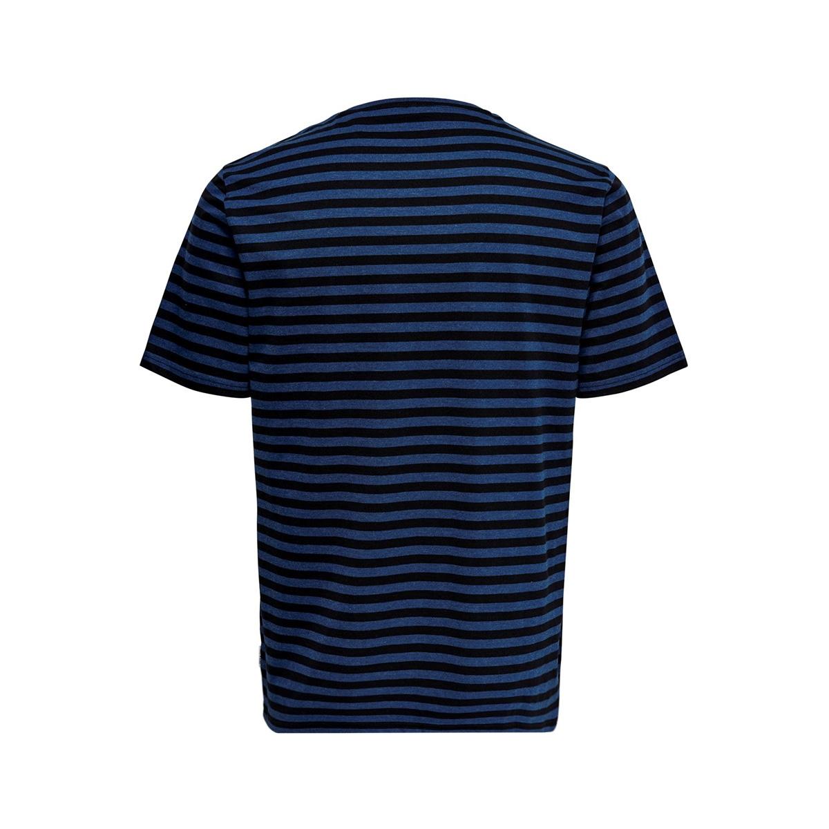 onsjamie ss stripe reg tee noos 22013203 only & sons t-shirt estate blue/black