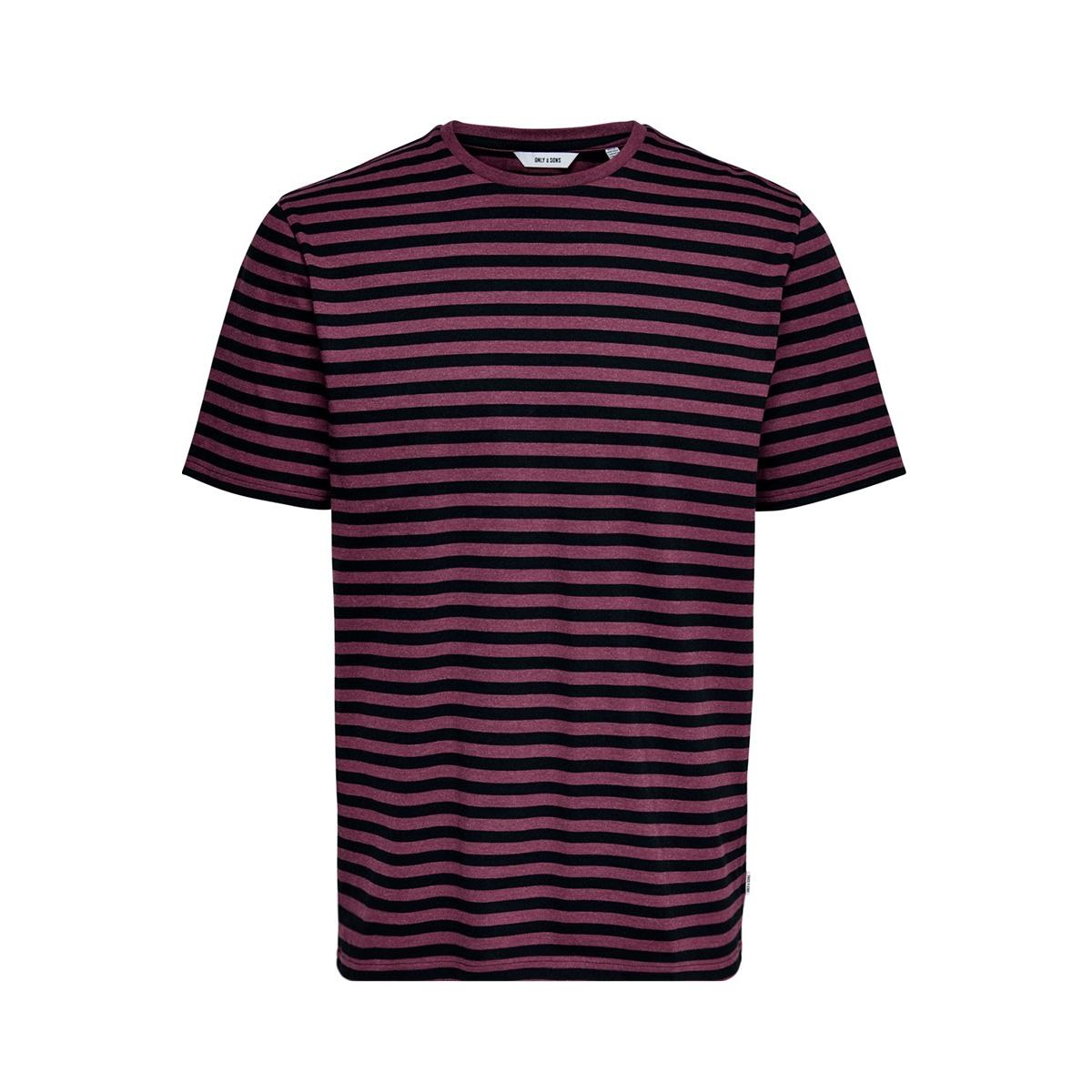 onsjamie ss stripe reg tee noos 22013203 only & sons t-shirt zinfandel/black