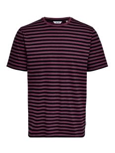 Only & Sons T-shirt onsJAMIE SS STRIPE REG TEE NOOS 22013203 Zinfandel/BLACK