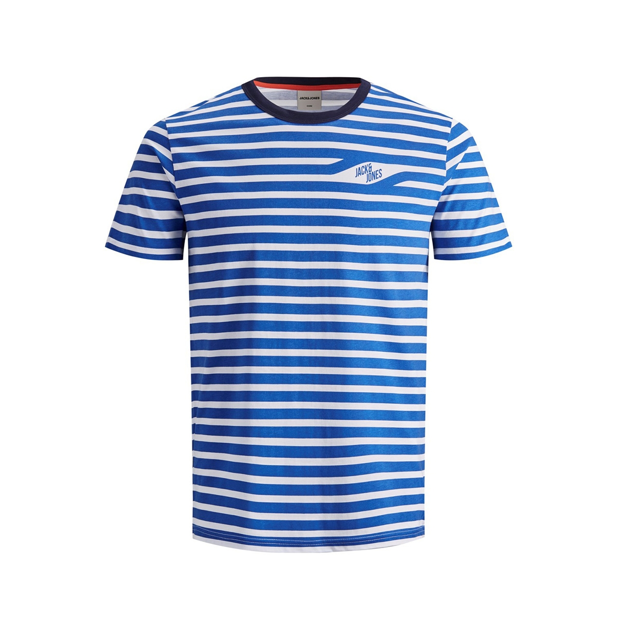 jcocraig tee ss crew neck 12155072 jack & jones t-shirt victoria blue/slim