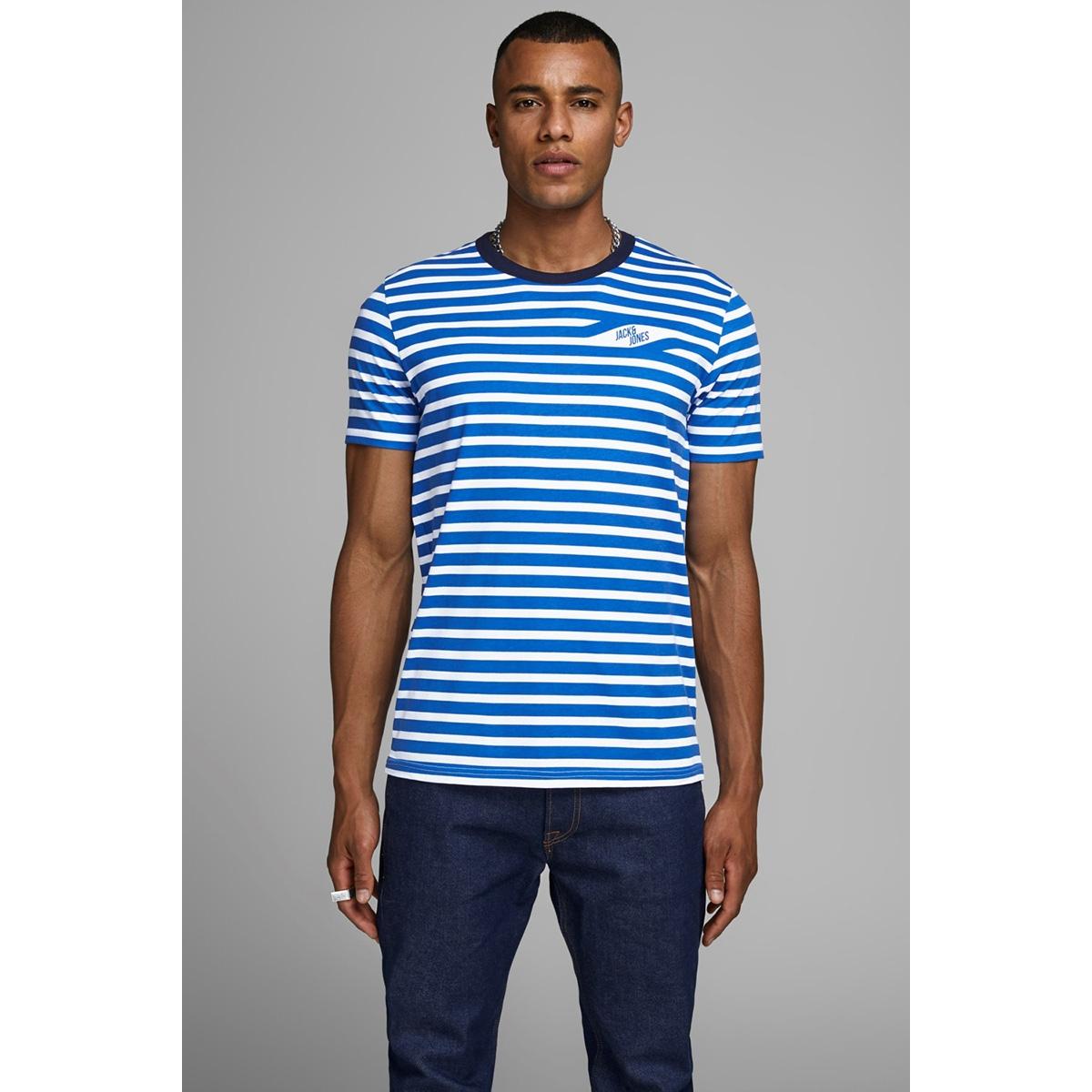 jcocraig tee ss crew neck 12155072 jack & jones t-shirt victoria blue/slim