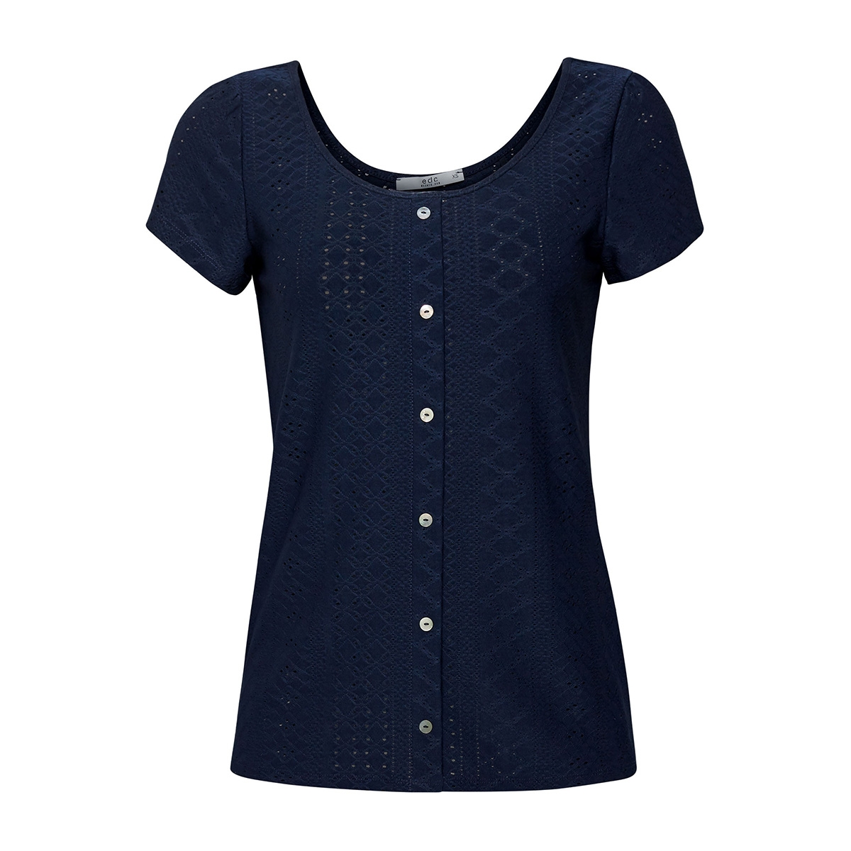shirt met opengewerkt motief 059cc1k005 edc t-shirt c400