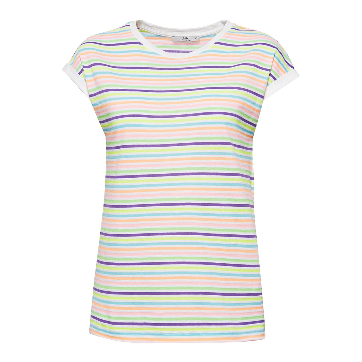 t shirt met strepen in neon look 069cc1k065 edc t-shirt c111