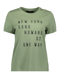 Vero Moda T-shirt VMYORK FRANCIS SS TOP BOX GA JRS 10215681 Hedge Green/TEXT FRONT