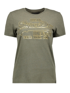 Superdry T-shirt V LOGO DEBOSS FOIL ENTRY TEE G10318YU WASHED KHAKI MARL