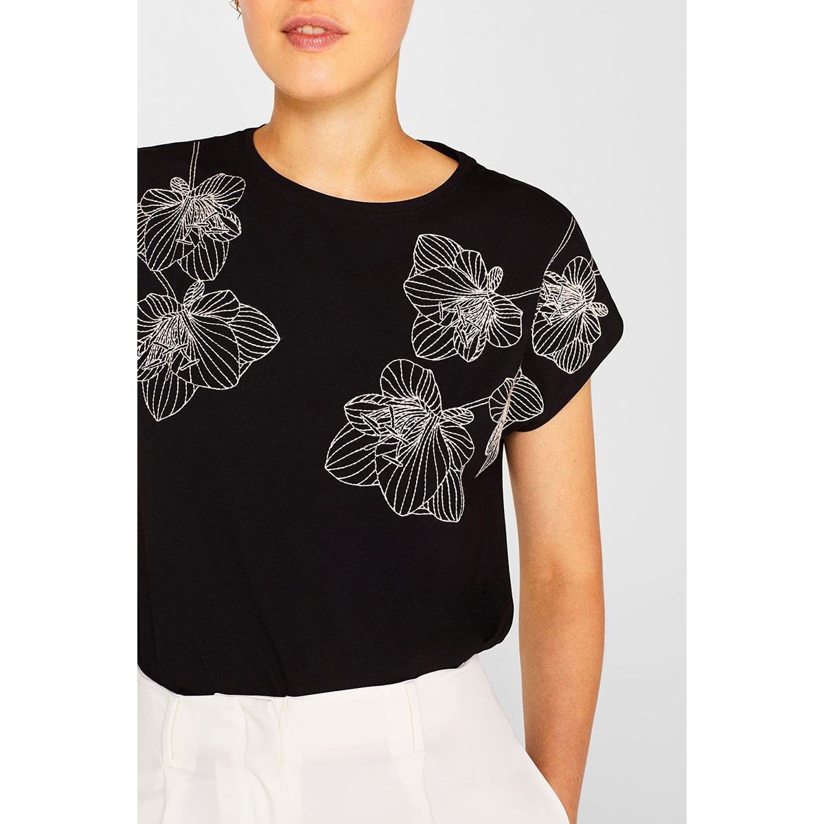 t shirt met bloemenborduursel 079eo1k005 esprit collection t-shirt e001 black