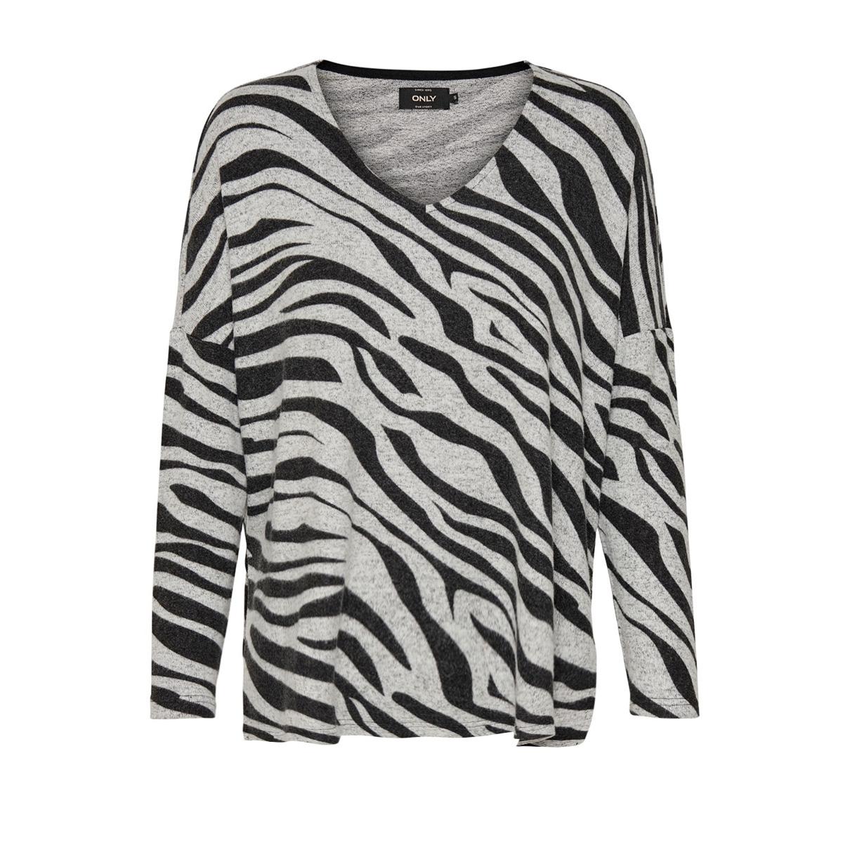 onlmaye l/s aop  pullover cc knt 15169510 only trui light grey mela/w. zebra