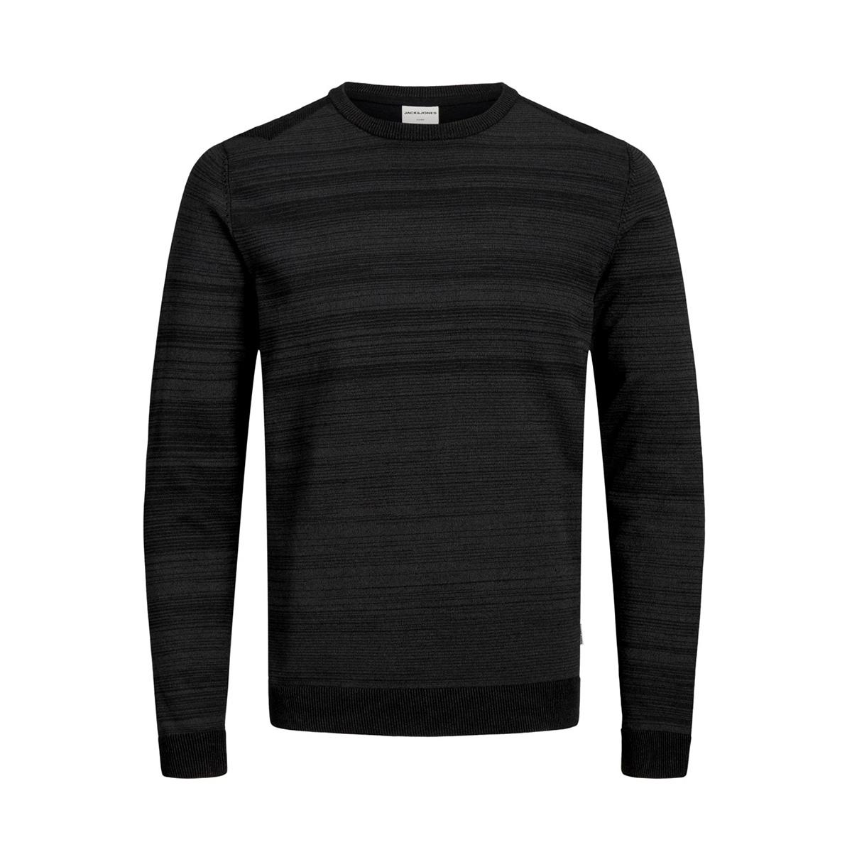 jcoelm knit crew neck 12155957 jack & jones trui black/twisted with