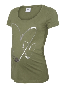 Mama-Licious Positie shirt MLHEARTLY S/S JERSEY TOP A. 20010188 Four Leaf Clove/SILVER FOI