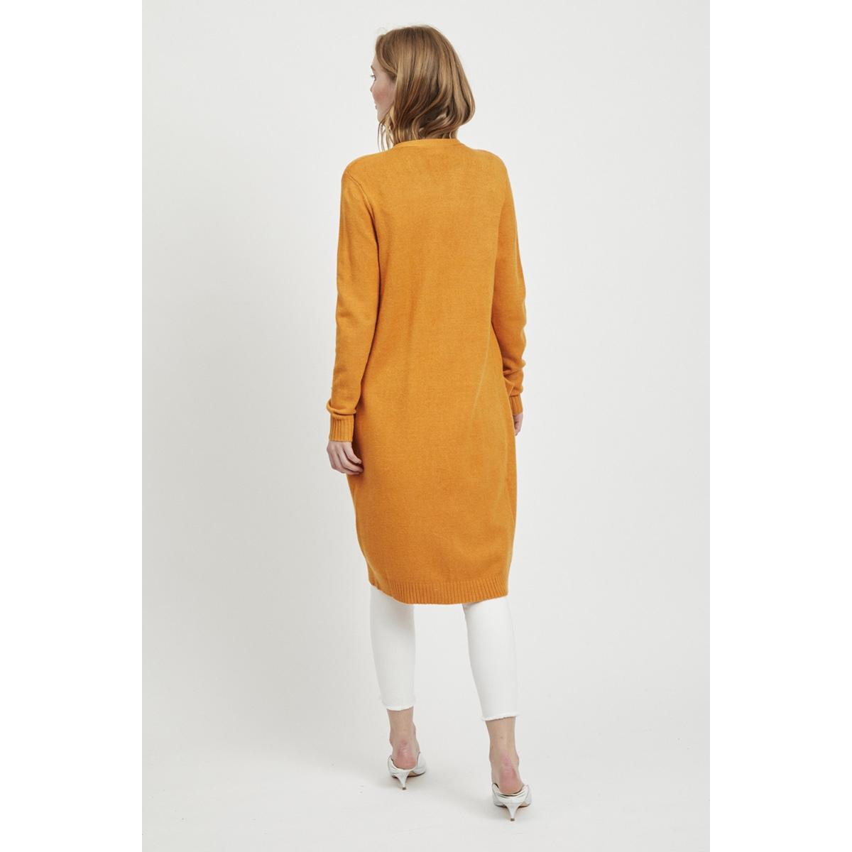 viril l/s long knit cardigan-noos 14042770 vila vest golden oak/melange
