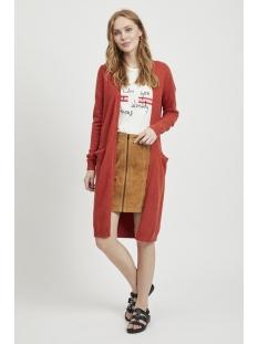 viril l/s long knit cardigan-noos 14042770 vila vest ketchup/melange