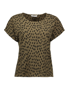 Pieces T-shirt PCJANE SS TOP D2D 17094128 Beech/BLACK DOTS
