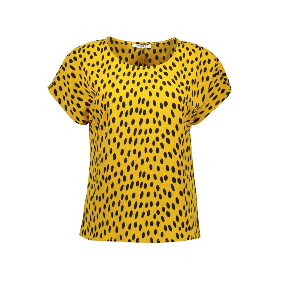 pcjane ss top d2d 17094128 pieces t-shirt arrowwood/black dots
