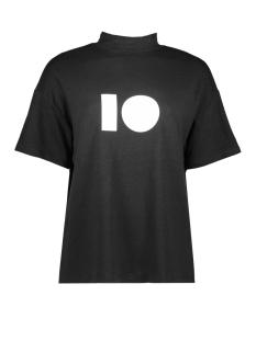 10 Days T-shirt TURLE NECK LINEN TEE 20 750 9103 BLACK