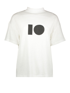 10 Days T-shirt TURLE NECK LINEN TEE 20 750 9103 WHITE