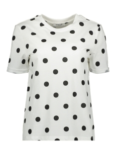 Pieces T-shirt PCRIA SS FOLD UP PRINT TEE DARK D2D 17096049 Bright White/BIG DOTS