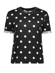 Pieces T-shirt PCRIA SS FOLD UP PRINT TEE DARK D2D 17096049 Black/BIG DOTS
