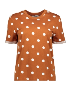 Pieces T-shirt PCRIA SS FOLD UP PRINT TEE DARK D2D 17096049 Picante/BIG DOTS