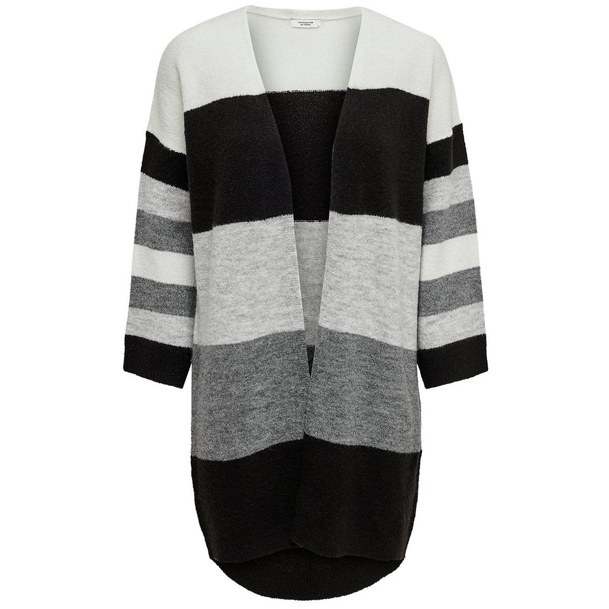 jdynora treats 7/8 cardigan knt 15176719 jacqueline de yong vest dark grey melan/stripe