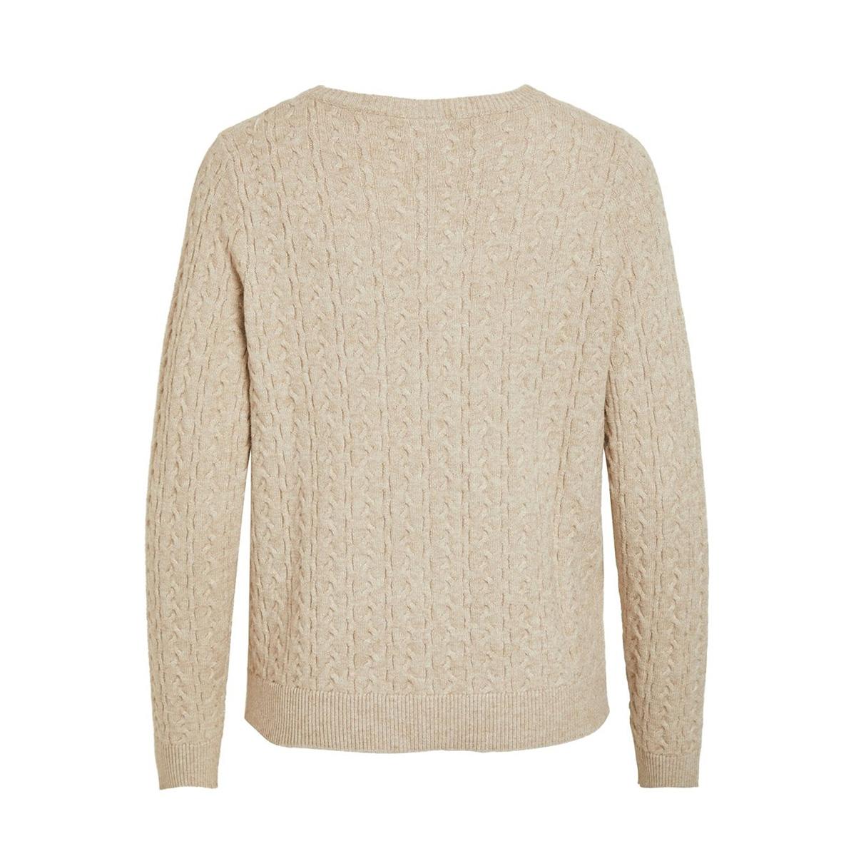 viril knit l/s cable cardigan 14053657 vila vest naturel melange