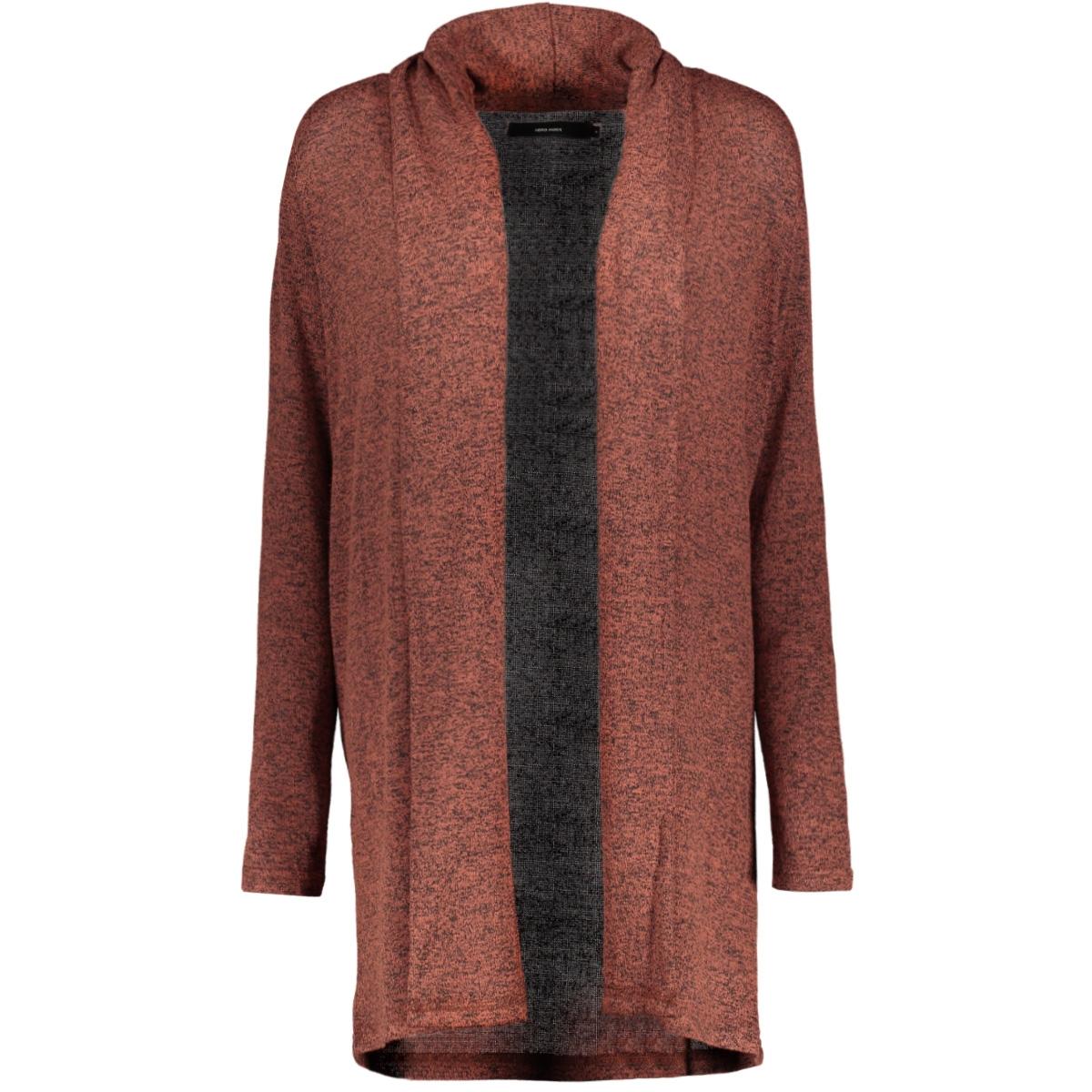 vmbrianna ls shawlcollar cardigan b 10215798 vero moda vest mahogany/w. black m