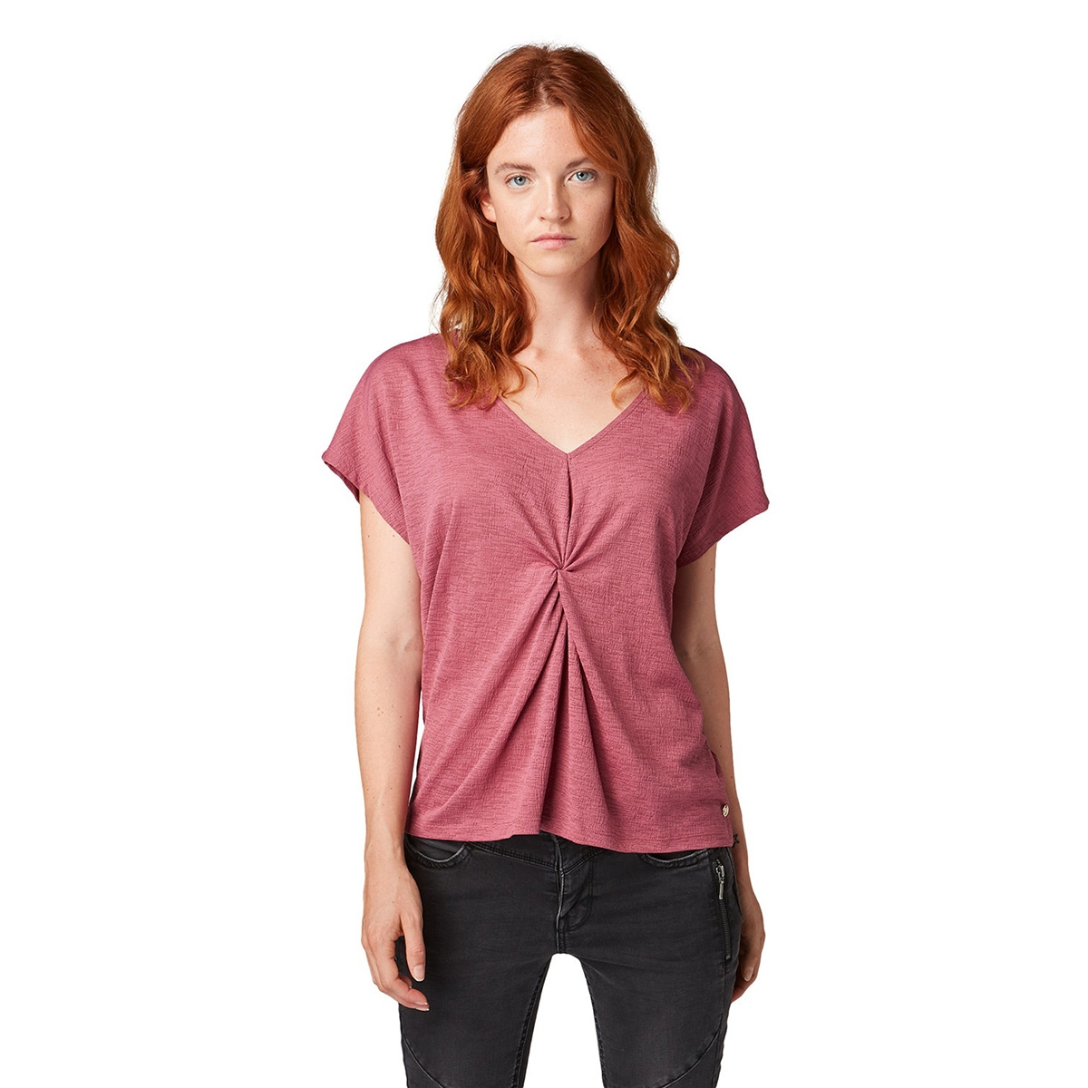 t shirt met knoopdetail 1013466xx71 tom tailor t-shirt 19397