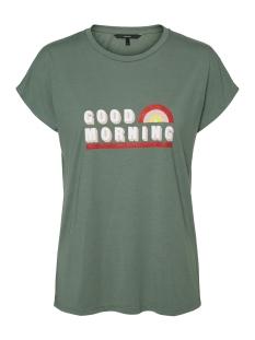 Vero Moda T-shirt VMSABRINA AVA SS WIDE TOP BOX EXP 10226869 Laurel Wreath/GOOD MORNING