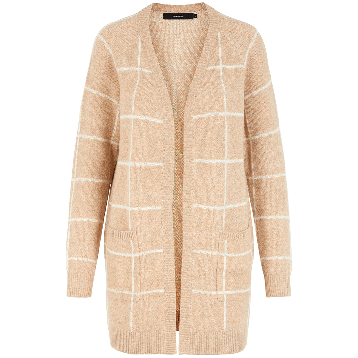 vmdoffy jacquard ls check cardigan 10215810 vero moda vest tobacco brown/birch