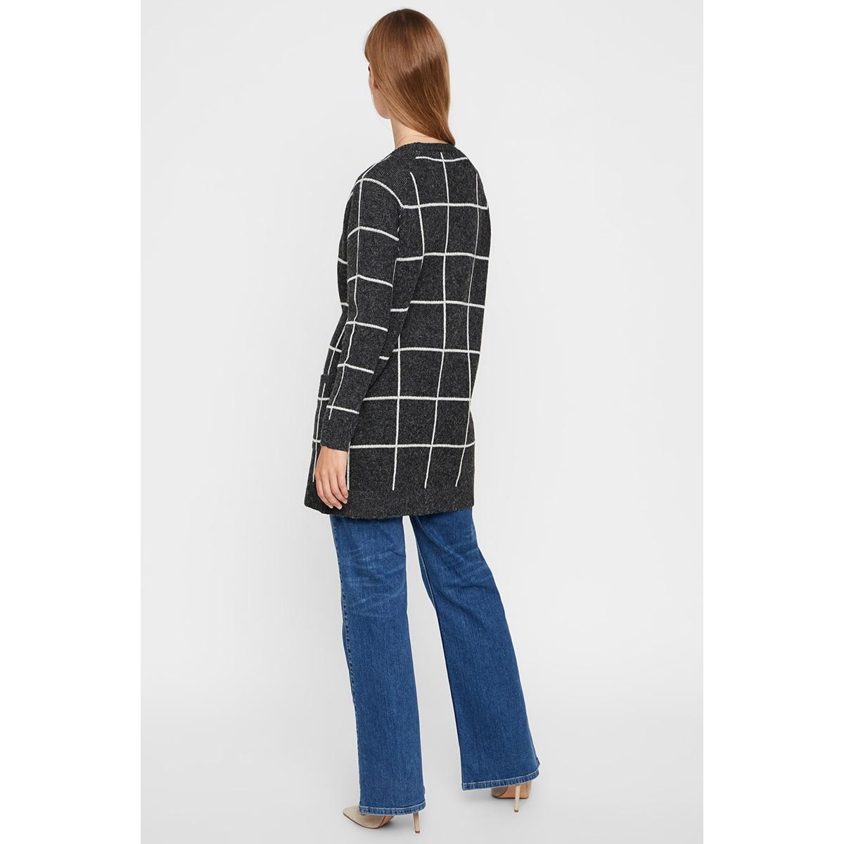 vmdoffy jacquard ls check cardigan 10215810 vero moda vest black/birch