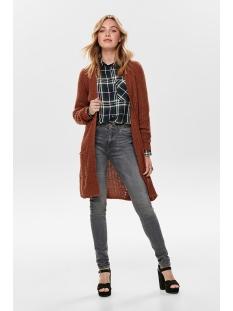 onlbernice l/s cardigan knt noos 15165076 only vest rustic brown/black melange
