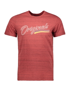 jorfranco tee ss crew neck 12158076 jack & jones t-shirt brick red/slim