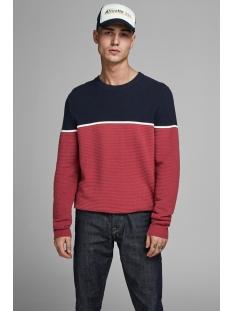 jorbrit knit crew neck 12159079 jack & jones trui navy blazer/ knit fit